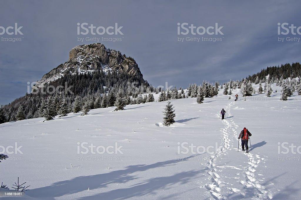 Climbing a hill stock photo