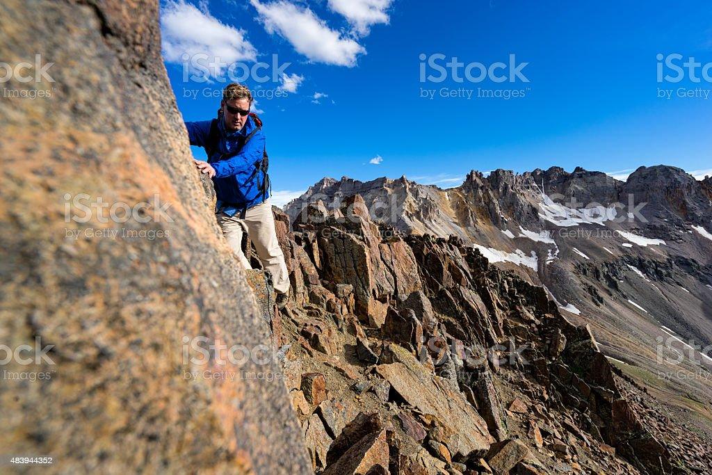 Climbing Along 4th Class Ridge stock photo