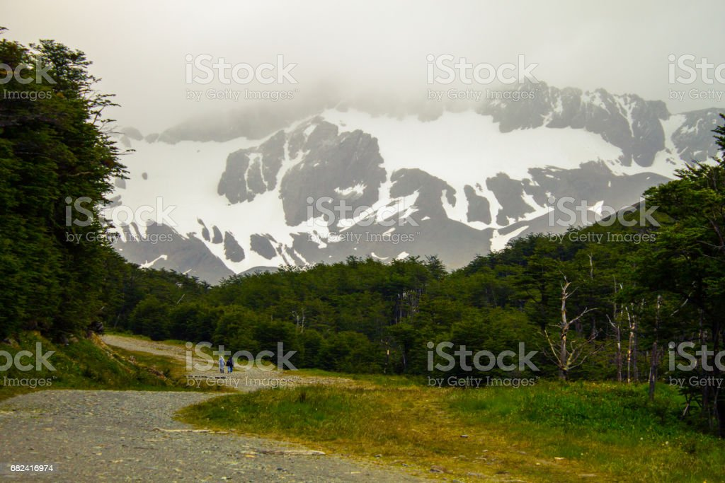Climbing Cerro Martial in summer, Ushuaia, Tierra del Fuego Province, Argentine Patagonia, South America. stock photo