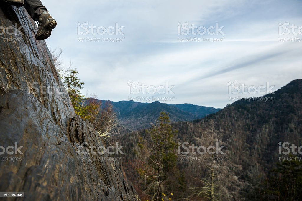 Climbing Chimney Tops in Great Smoky Mountains National Park stock photo