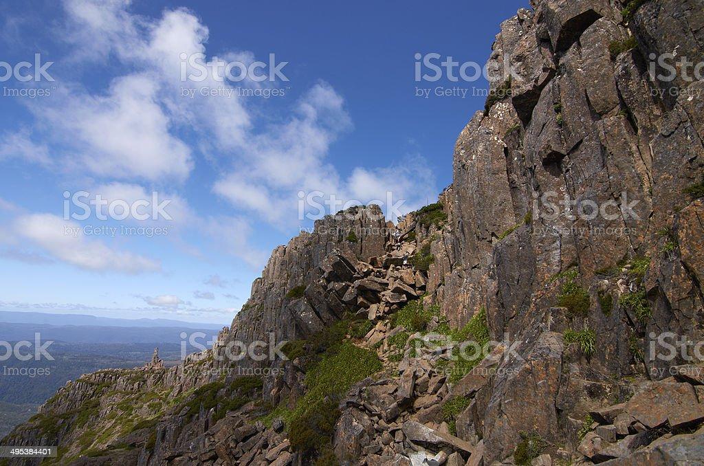 Climbing Cradle Mountain, Tasmania royalty-free stock photo