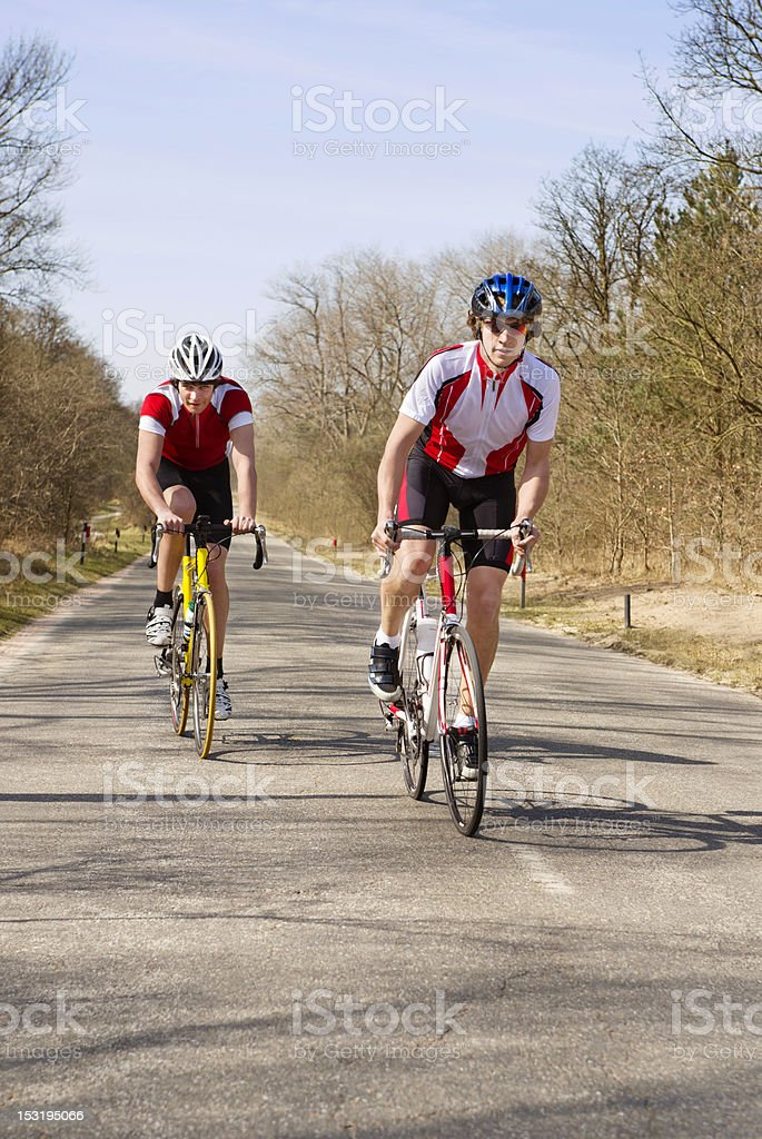 Climbing cyclists royalty-free stock photo