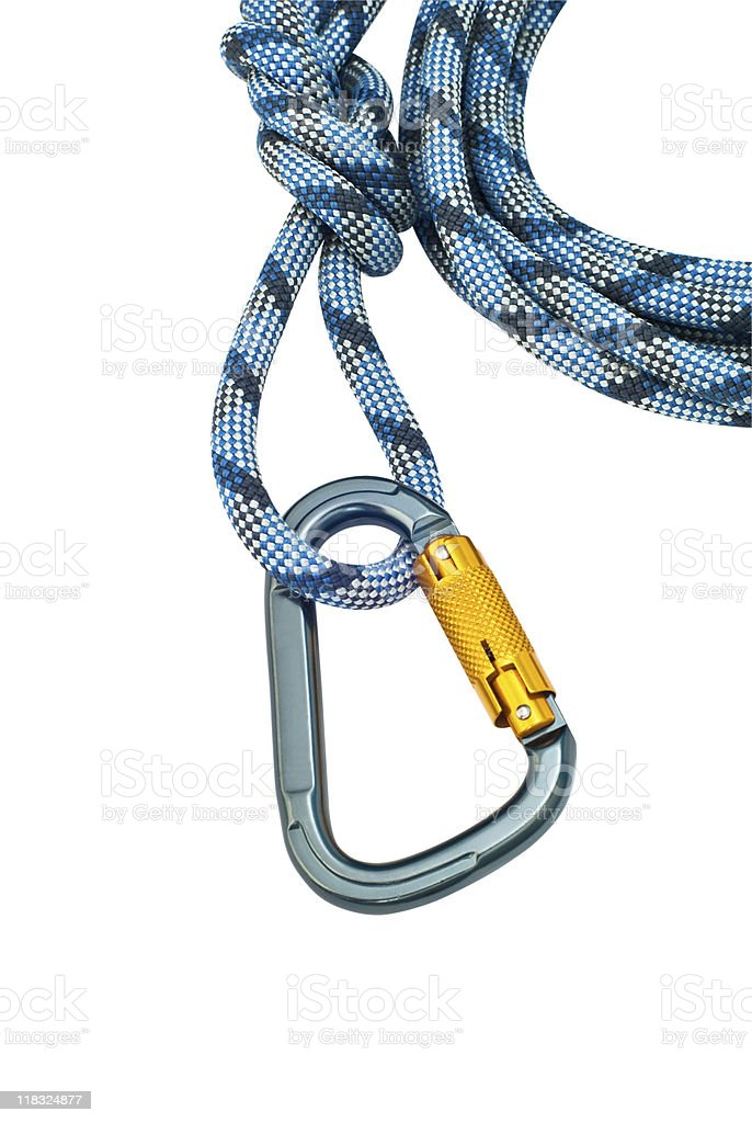 climbing equipment - carabiner without scratches and blue rope stock photo