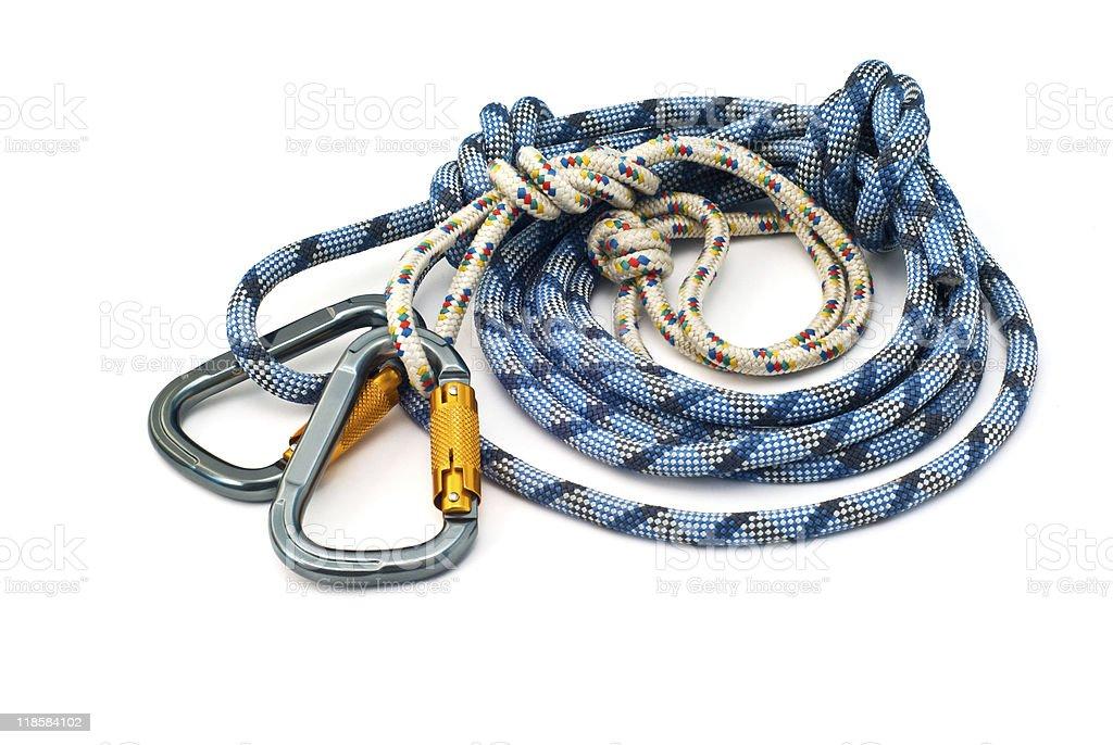 climbing equipment - carabiners and rope stock photo