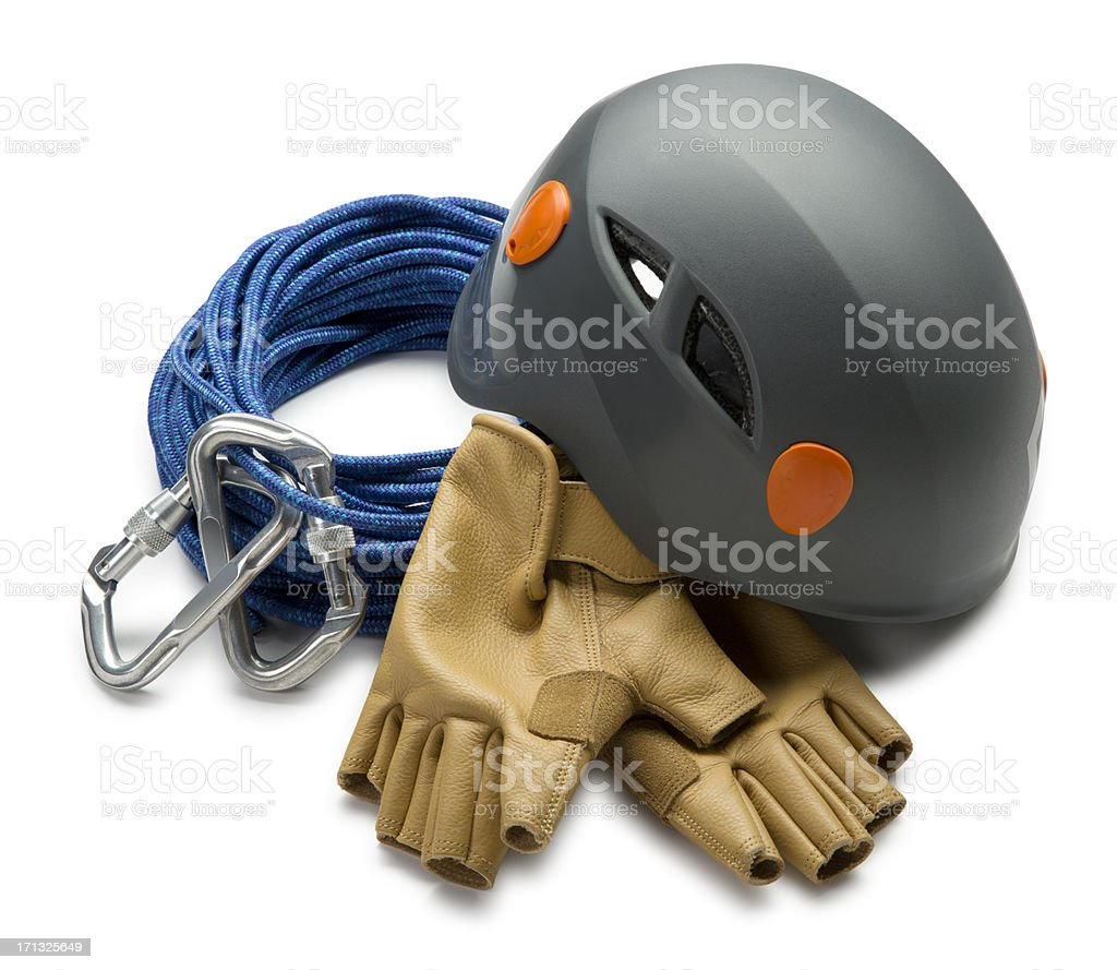 Climbing Equipment Isolated on White stock photo