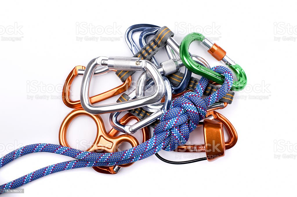 Climbing equipment isolated on white royalty-free stock photo