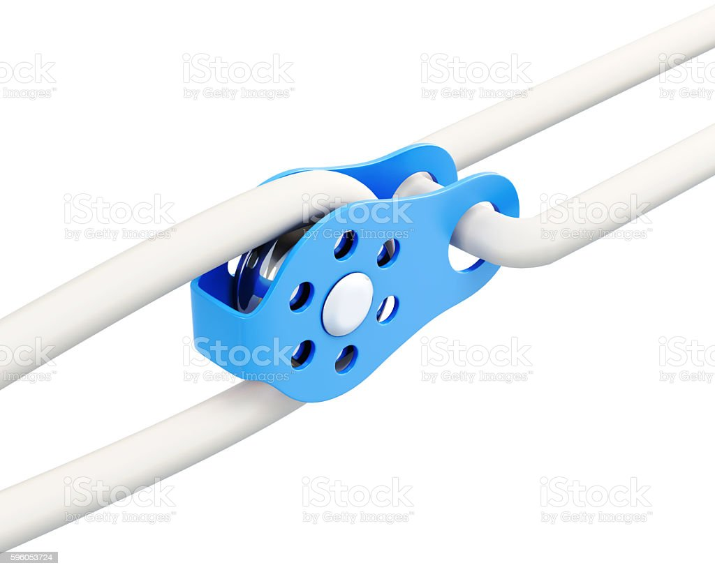 Climbing equipment - pulley, rope. Isolated on a white stock photo