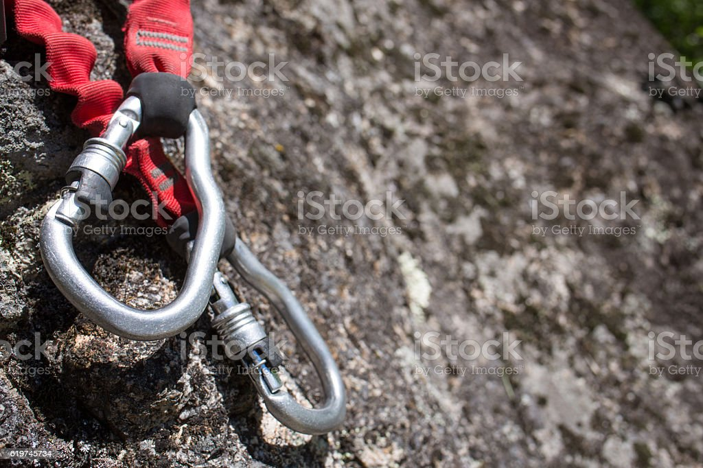 Climbing  equipment Via Ferrata stock photo