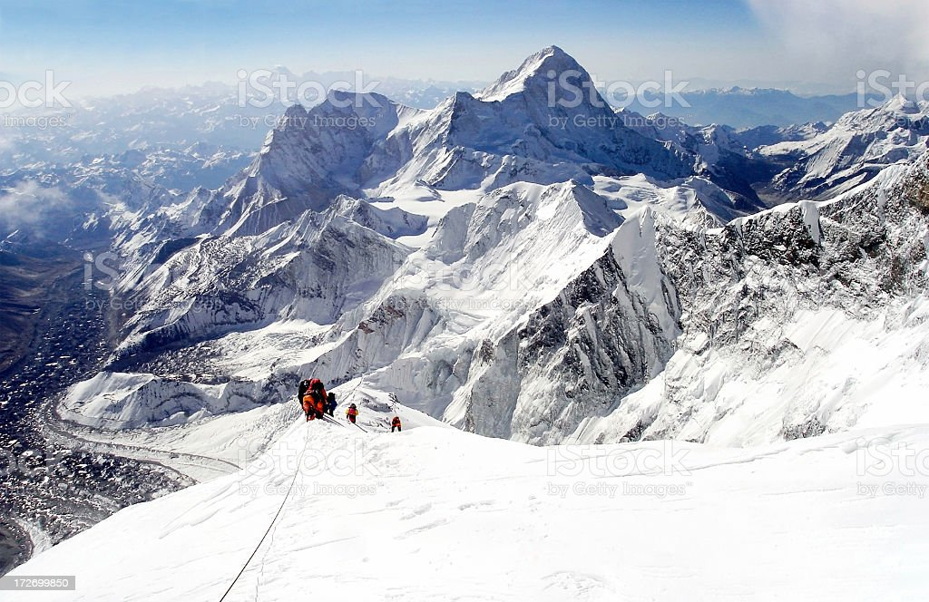 climbing everest stock photo
