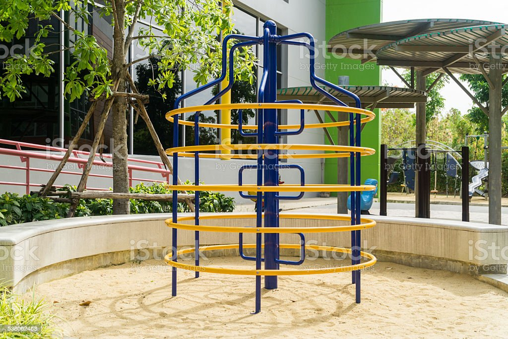 climbing frame at a playground stock photo