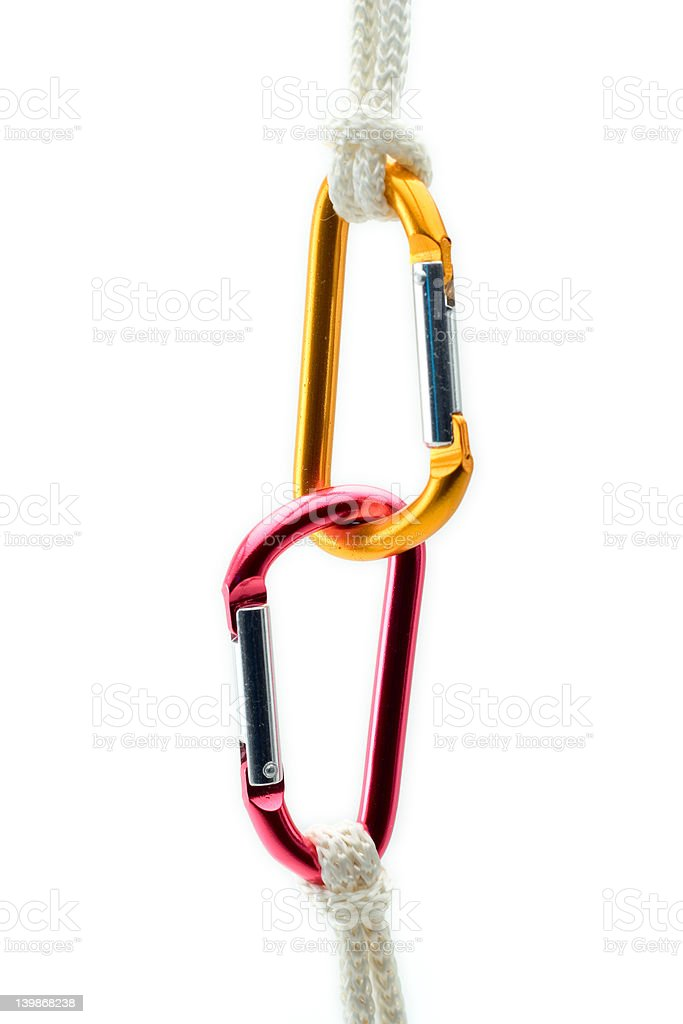 Climbing gear against white background royalty-free stock photo