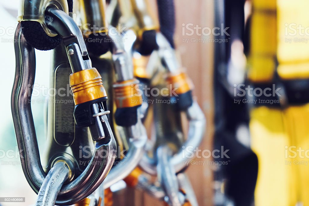 Climbing gear stock photo