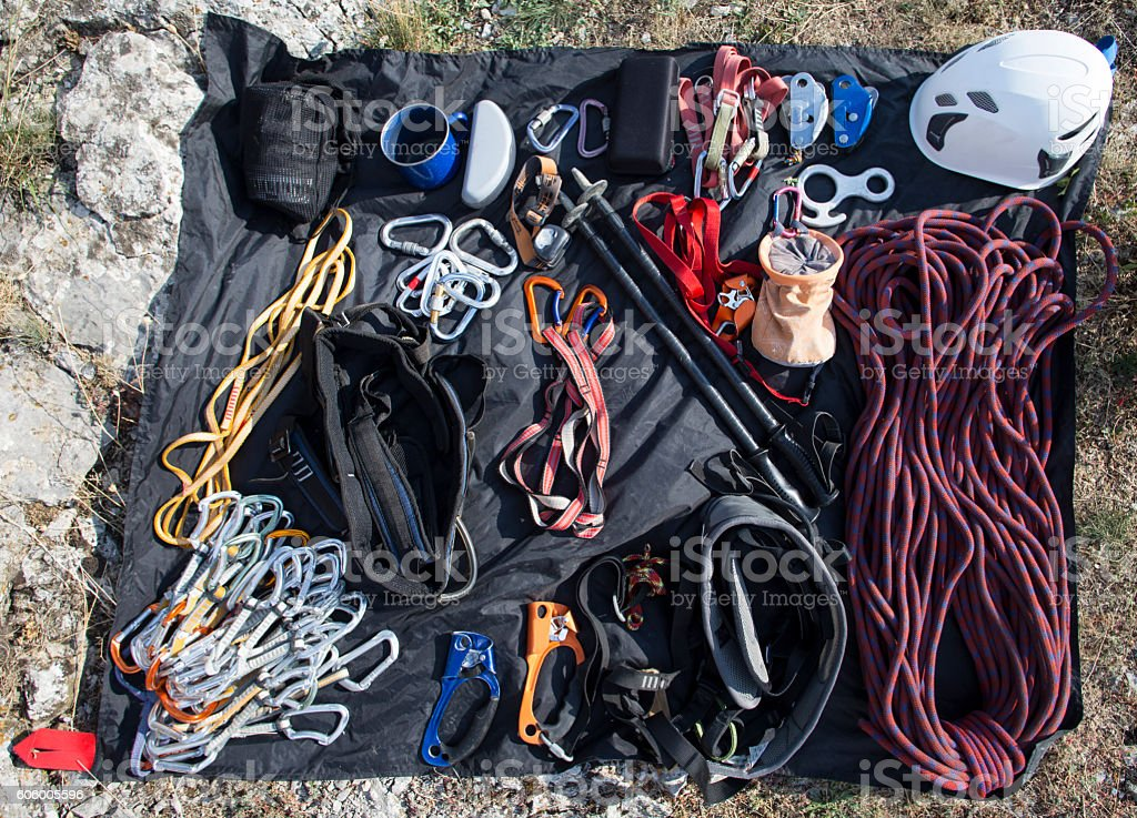 Climbing gear. stock photo