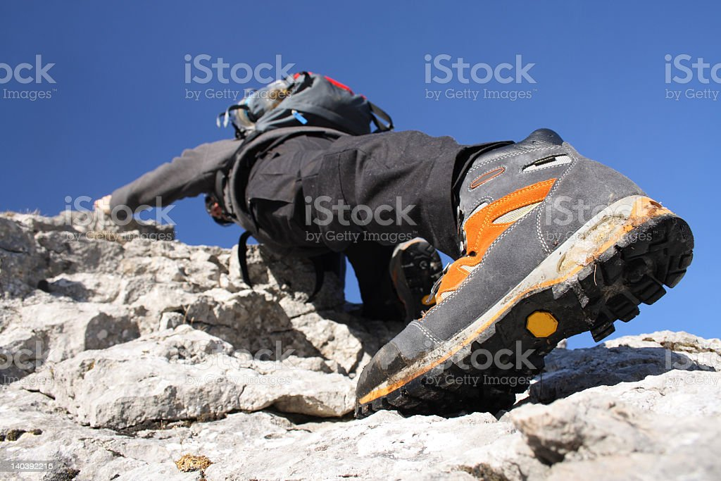 Climbing in the Alps stock photo