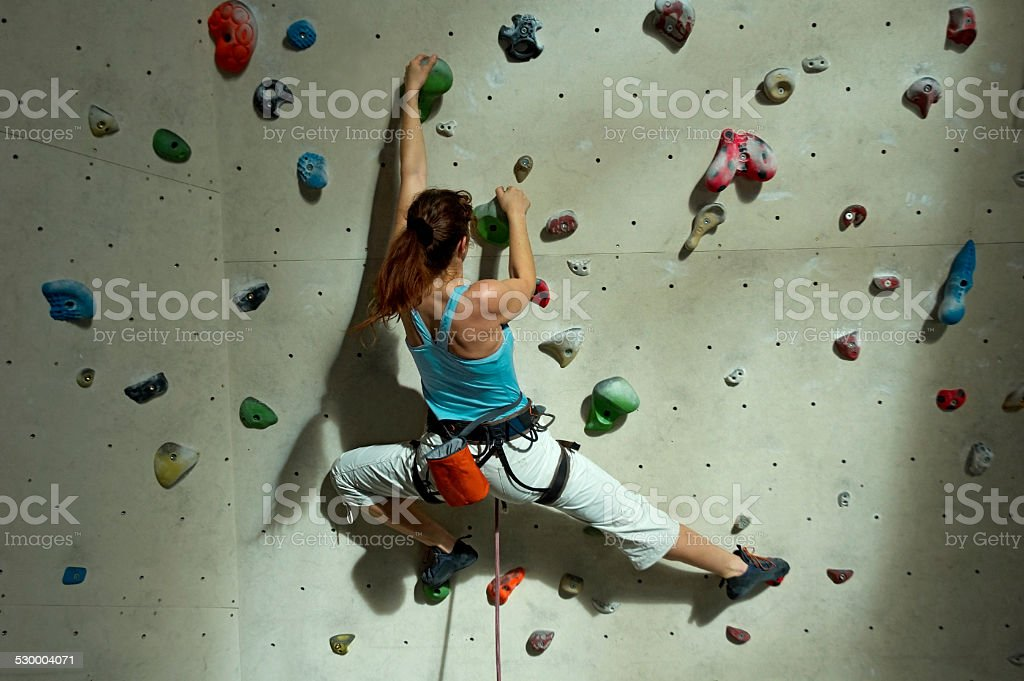 Climbing in the Gym stock photo