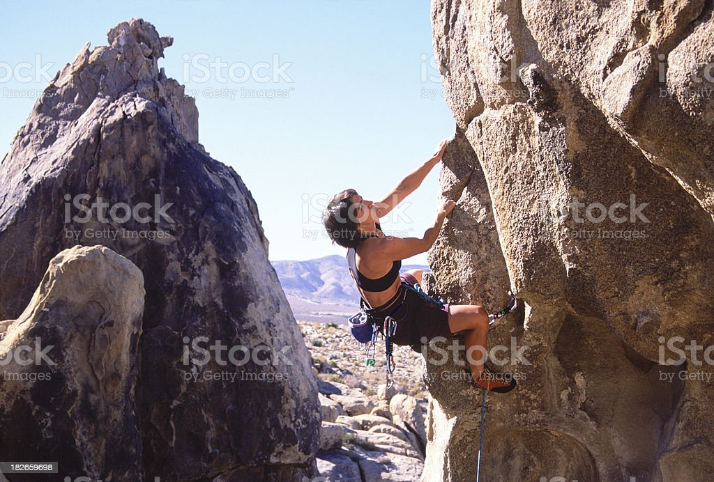 Climbing in the High Desert stock photo