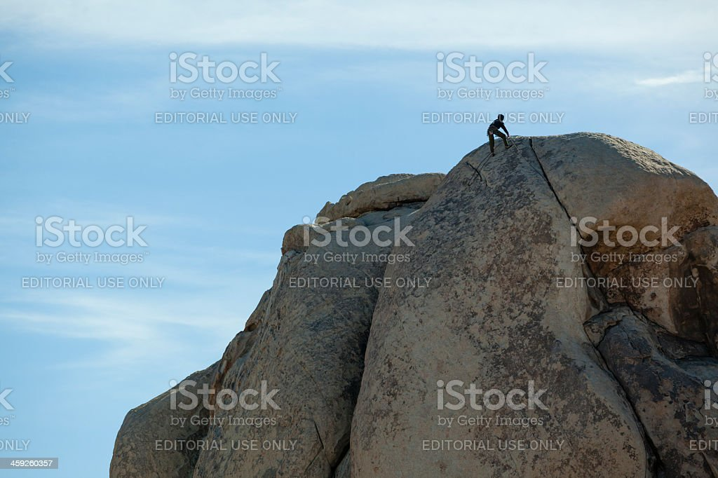 Climbing Joshua Tree national park royalty-free stock photo