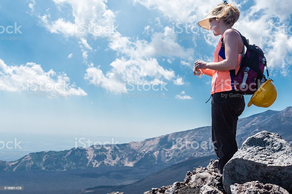 Climbing Mont Etna in Italy. stock photo