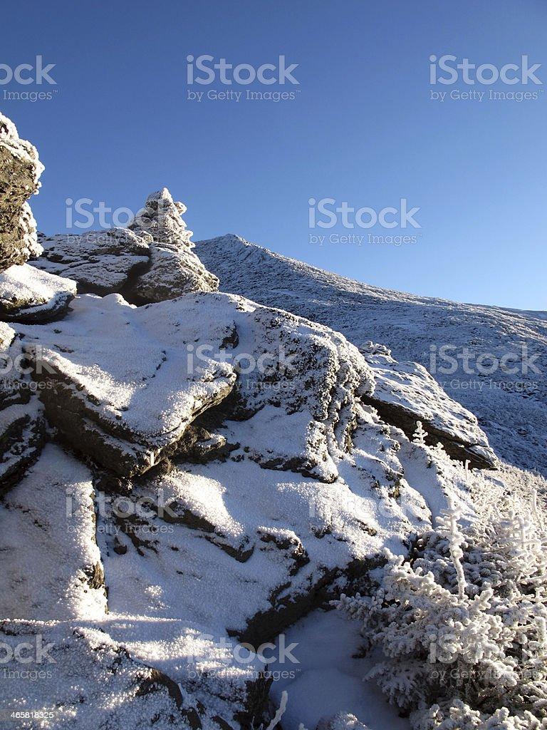 Climbing Mt. Jefferson stock photo