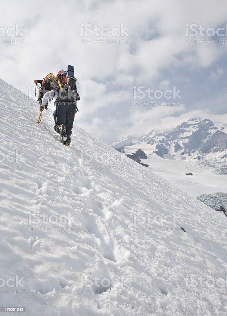 Climbing Mt. Rainier royalty-free stock photo