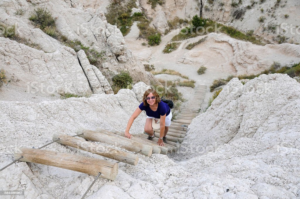 Climbing Notch Trail Ladder stock photo
