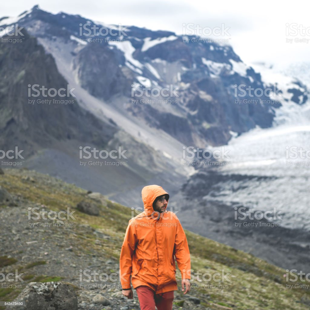 Climbing on a mountain stock photo