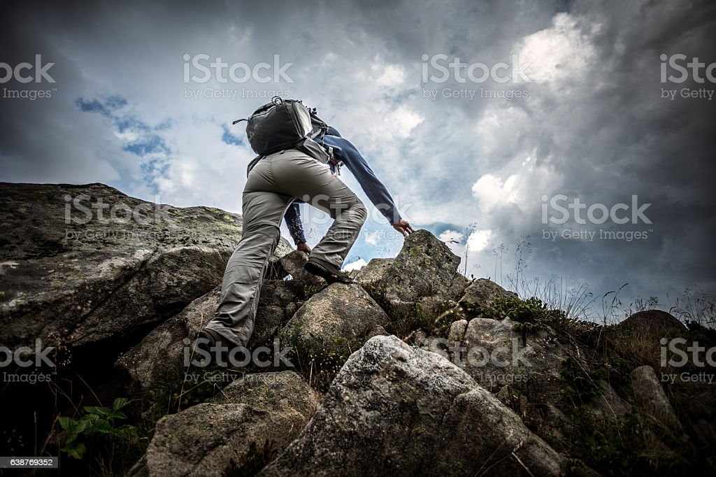 Climbing on the top stock photo
