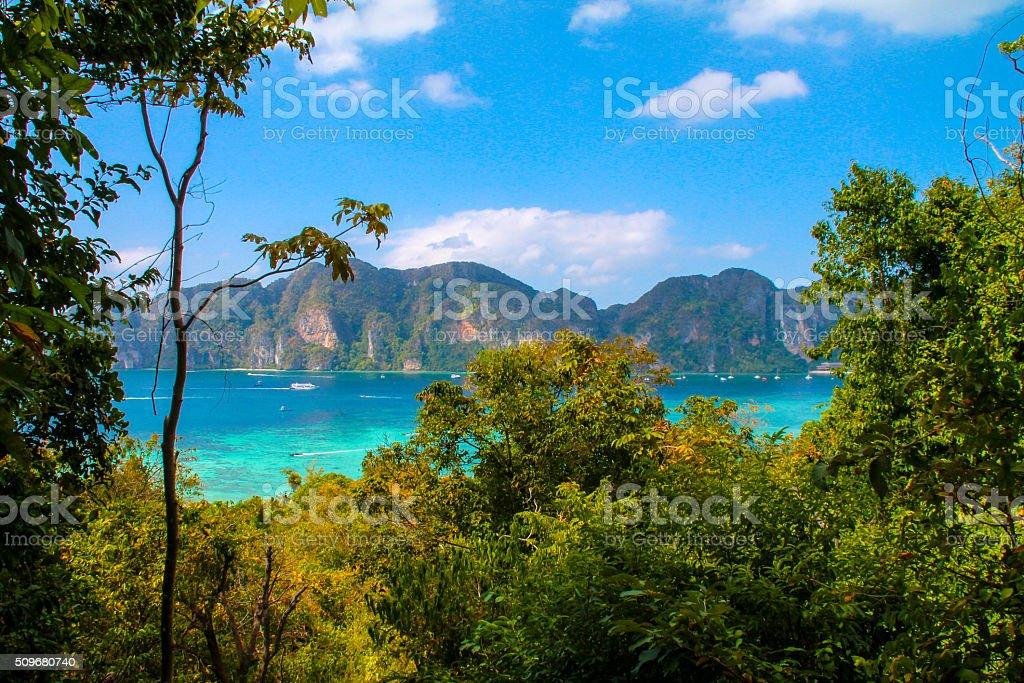 Climbing on top of Ko Phi Phi, Thailand stock photo