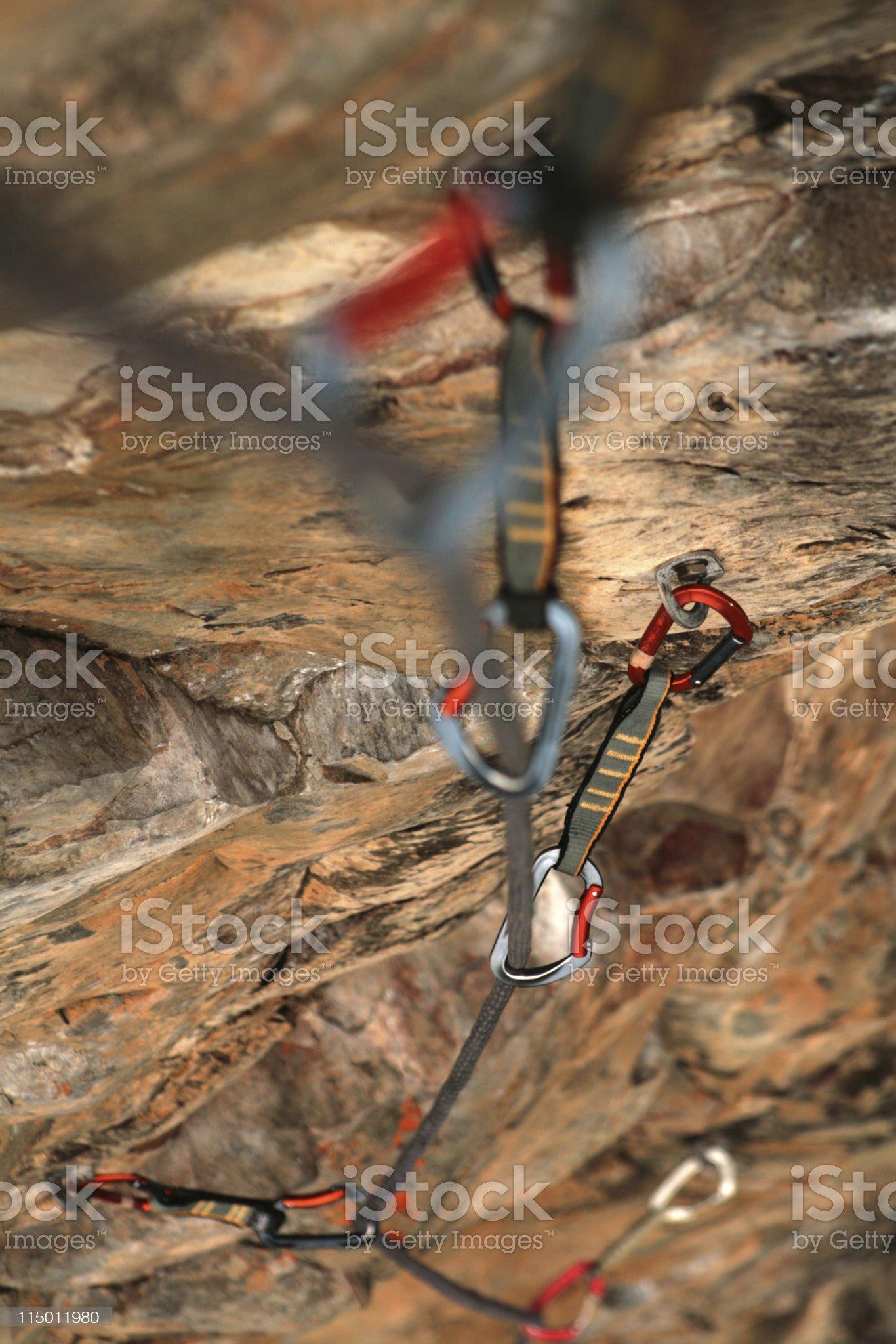 Climbing Quickdraws royalty-free stock photo