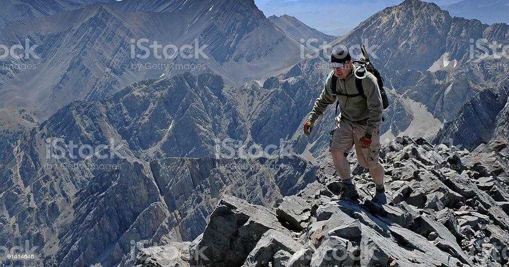 Climbing Rocky Ridge royalty-free stock photo