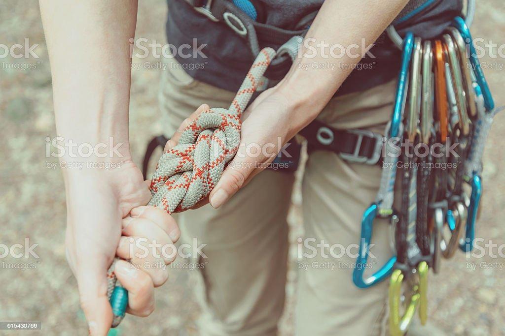 Climbing rope eight knot stock photo