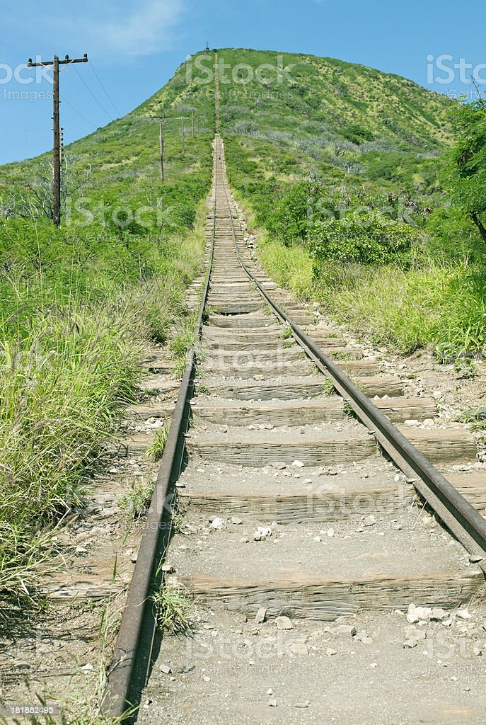 Climbing route on railroad tracks up Koko Crater stock photo