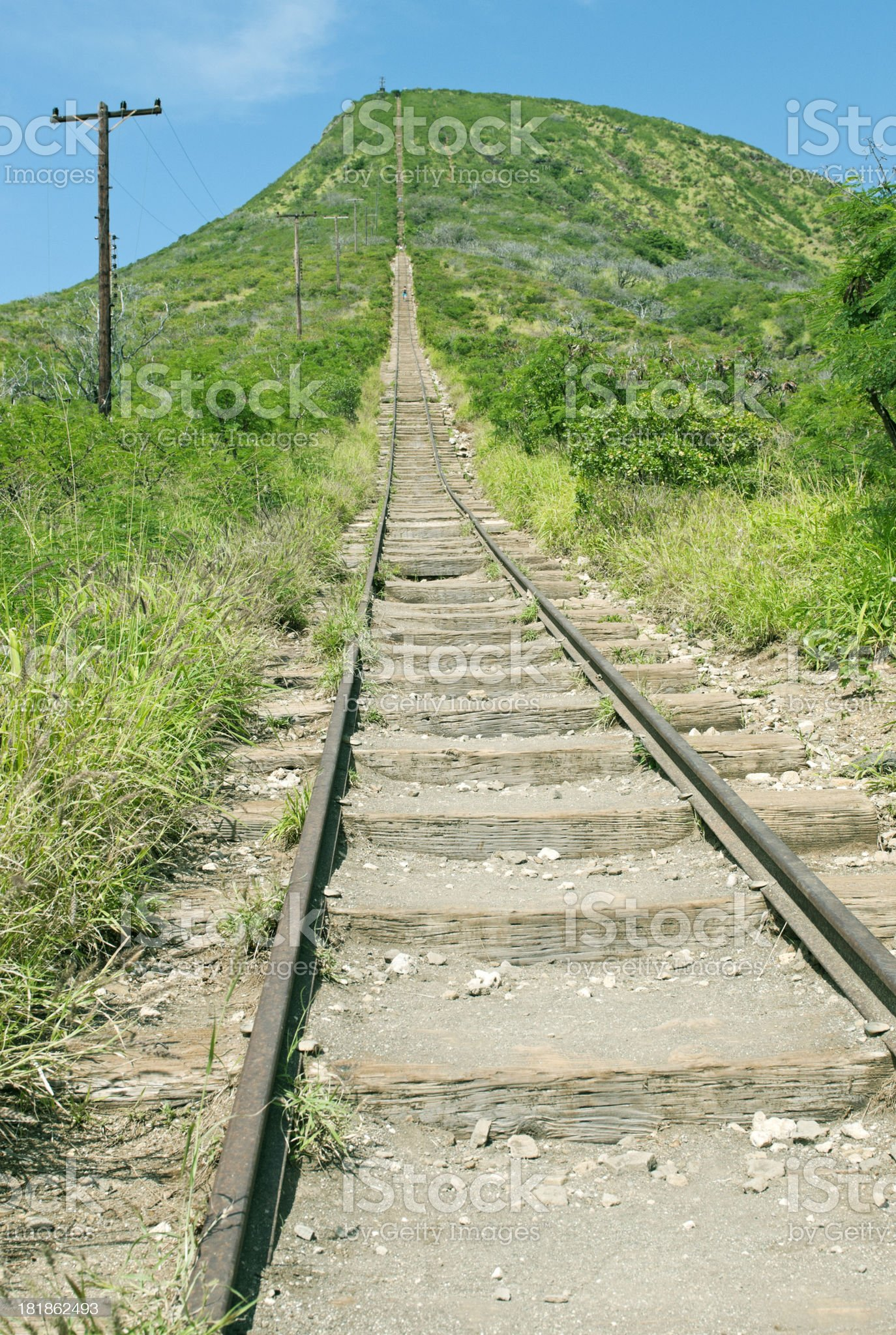 Climbing route on railroad tracks up Koko Crater royalty-free stock photo