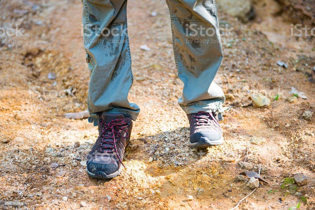 Climbing shoes for trekking in mountain stock photo