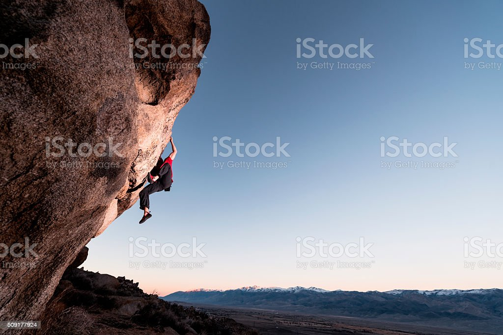 climbing steep stock photo