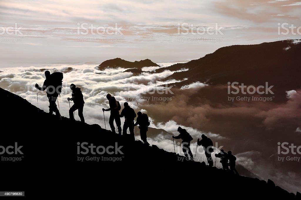 Climbing Team stock photo