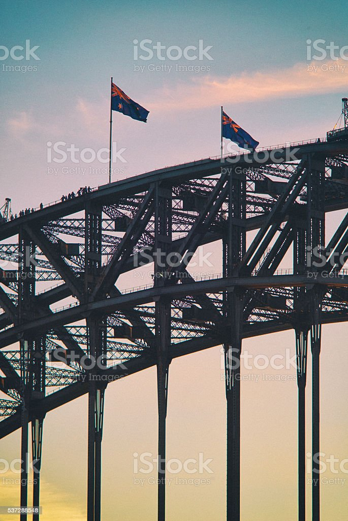 Climbing The Arch Of The Sydney Harbour Bridge stock photo