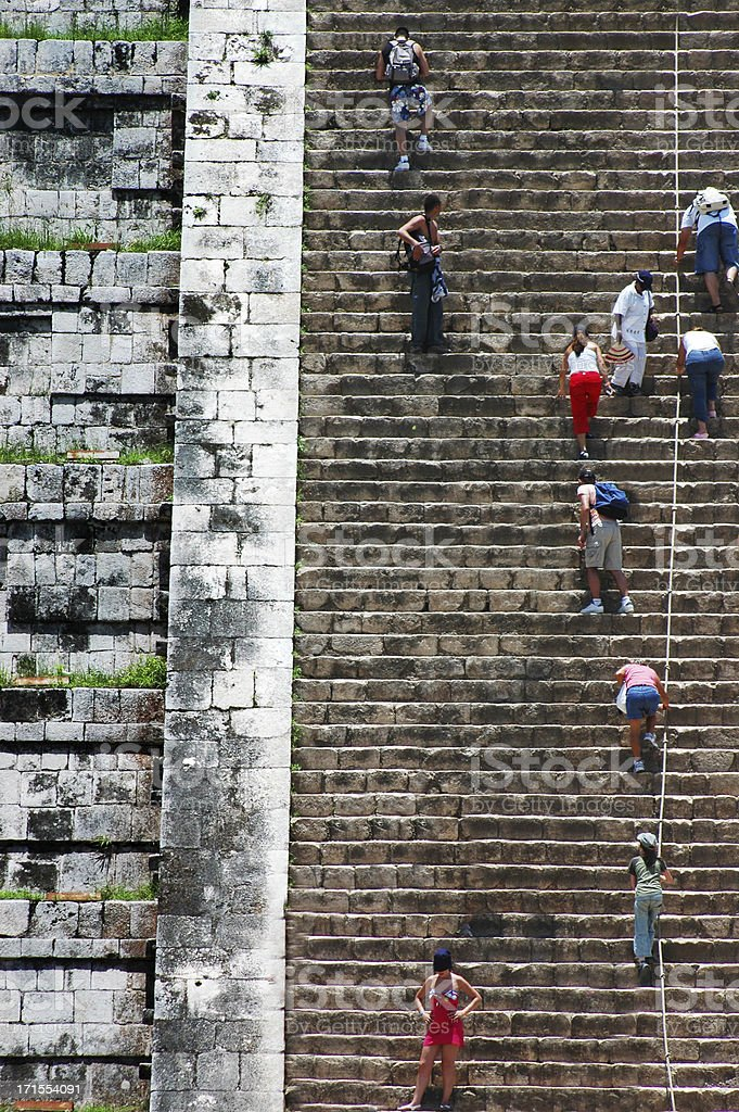Climbing The Great Pyramid, Chichen-Itza royalty-free stock photo