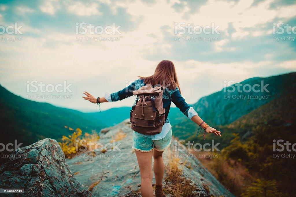 Climbing the top stock photo