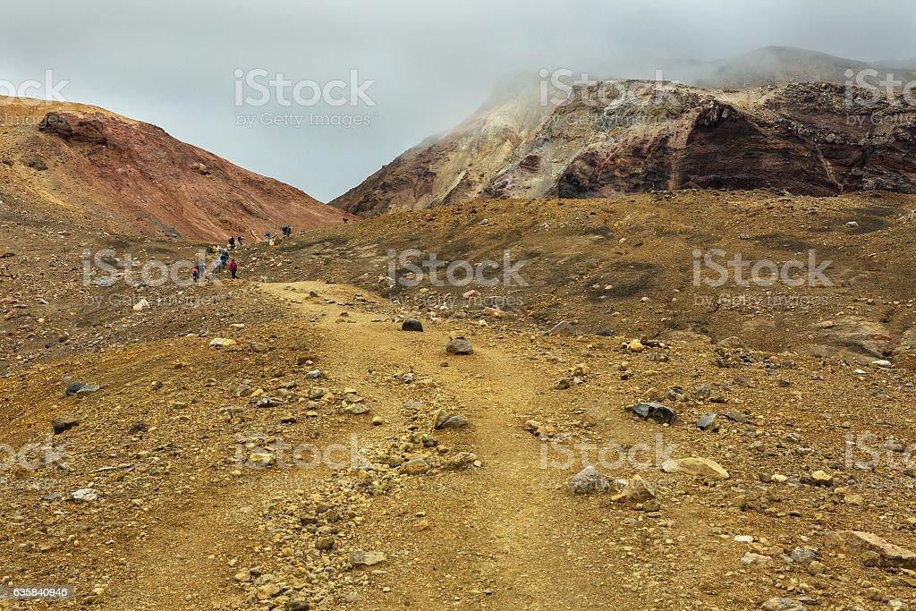 Climbing to active volcano Mutnovsky on Kamchatka. stock photo