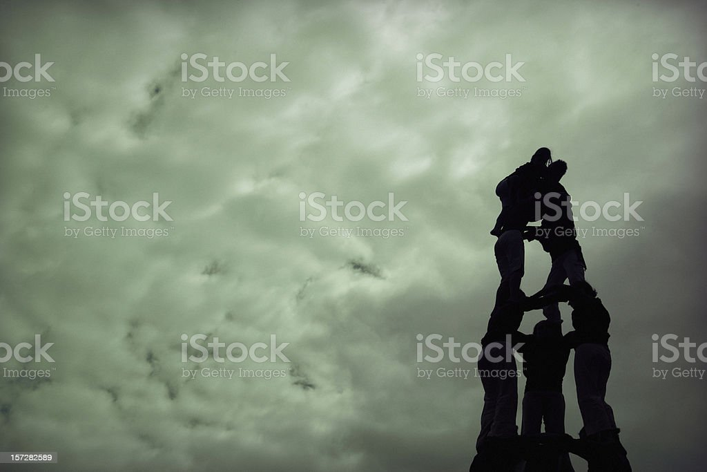 Climbing to the clouds stock photo
