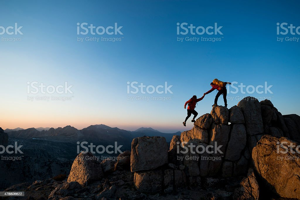 climbing to the top stock photo
