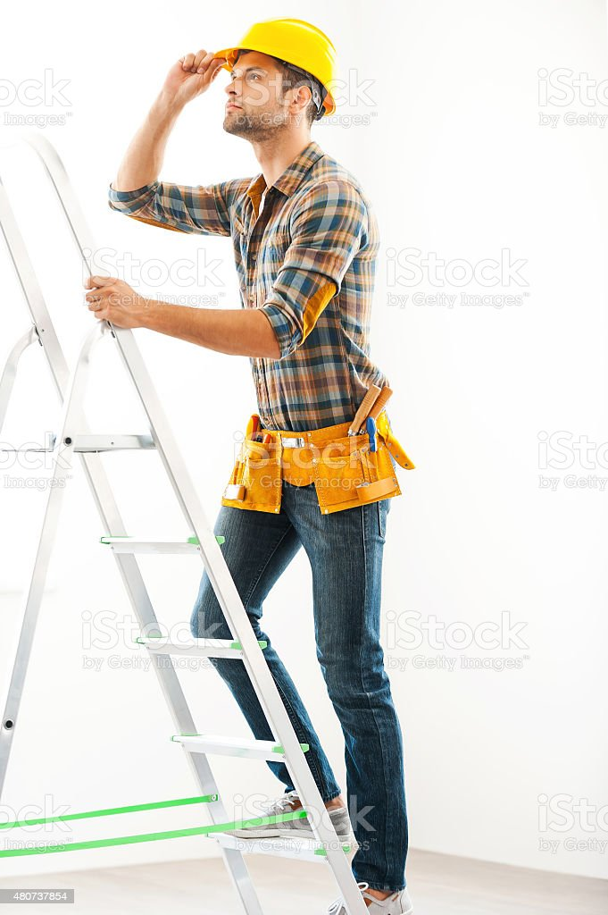 Climbing to the top. stock photo