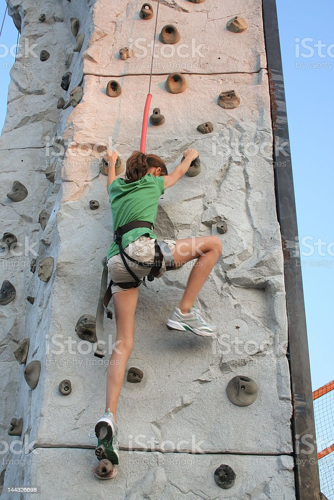 Climbing wall girl royalty-free stock photo