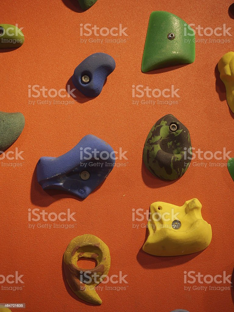 climbing wall hanger hold stock photo