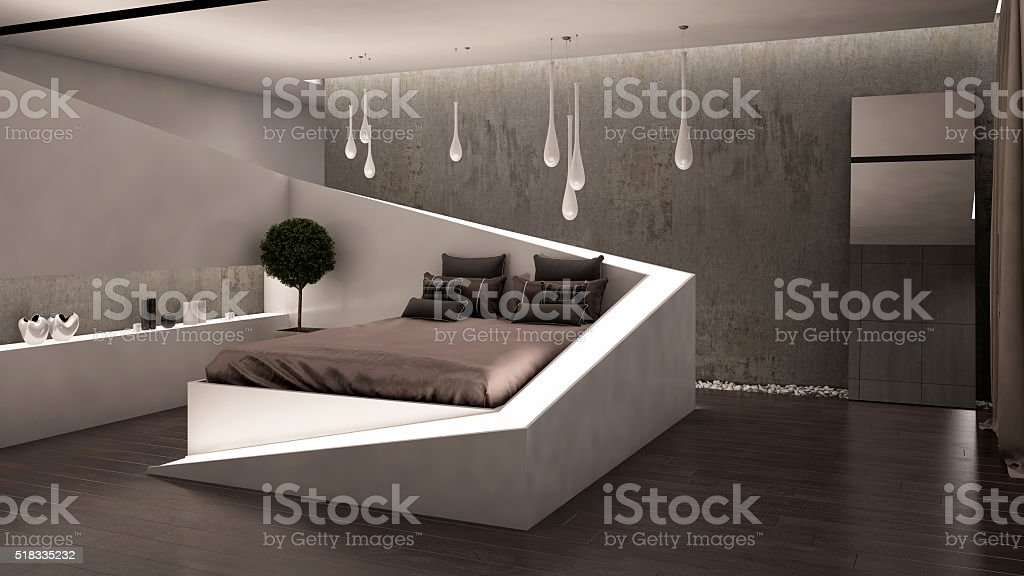 C-line Bedroom 3D Rendering stock photo
