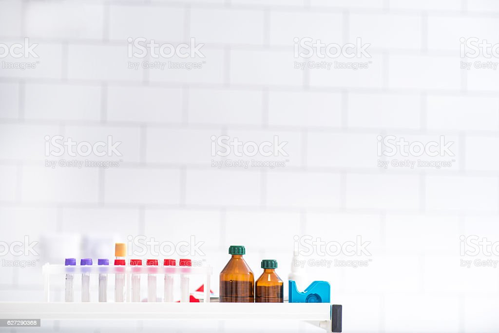 Clinical set for blood test in clinic stock photo