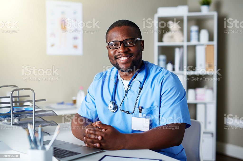 Clinician in hospital stock photo