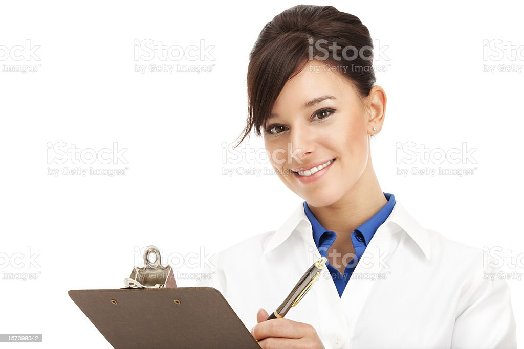 Clinician with Clipboard and Pen stock photo