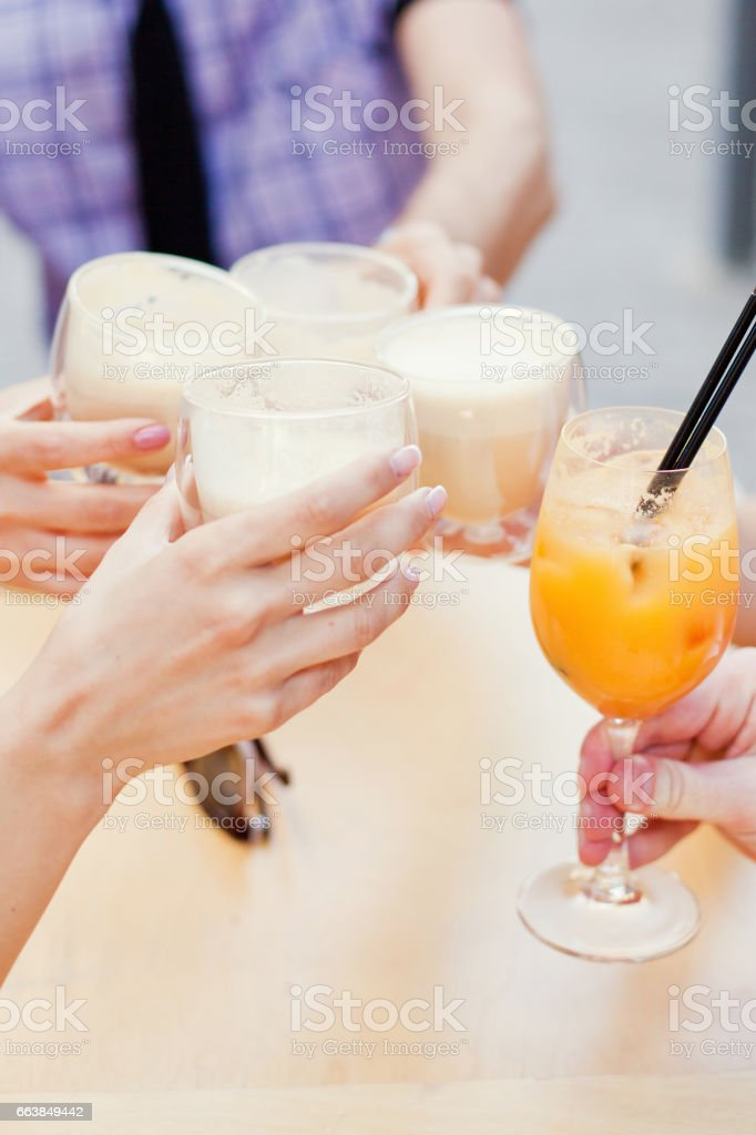 Clinking glasses stock photo